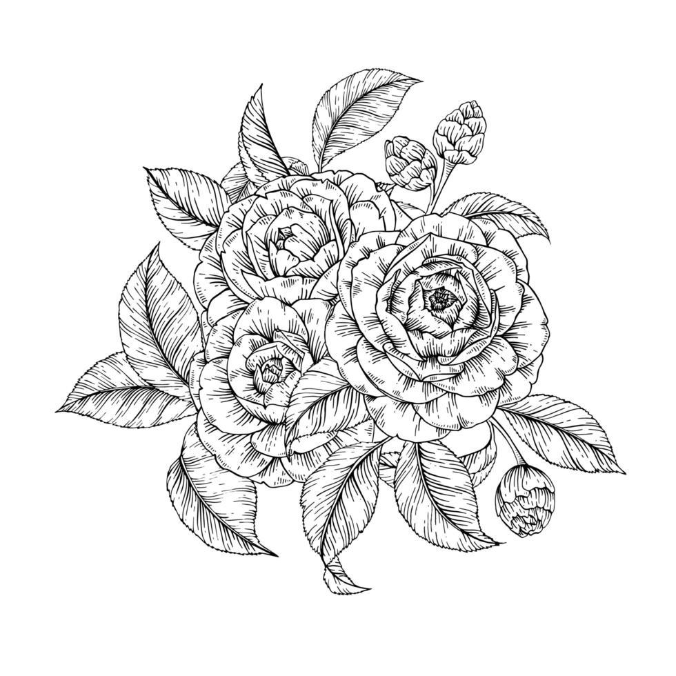 estampa floral de camélia vetor