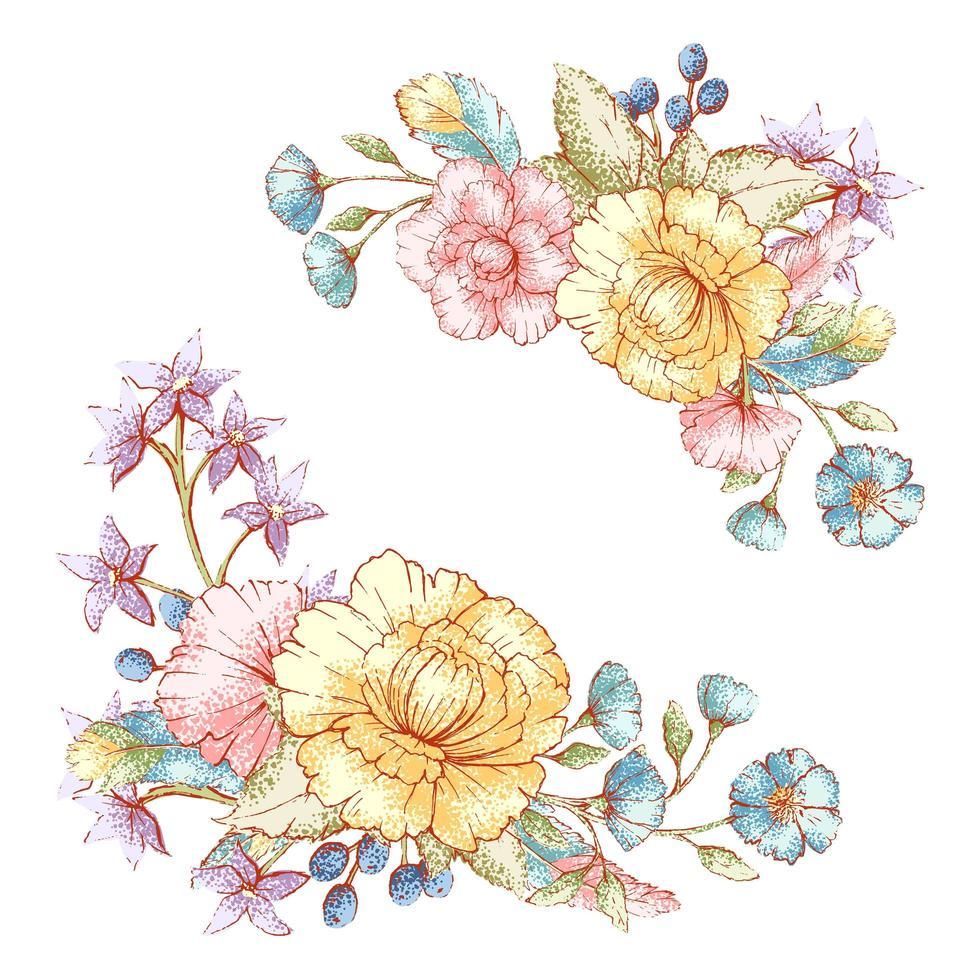 buquês de flores vintage estilo aquarela vetor