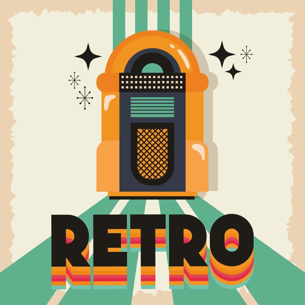pôster de festa estilo retro com jukebox de música vetor