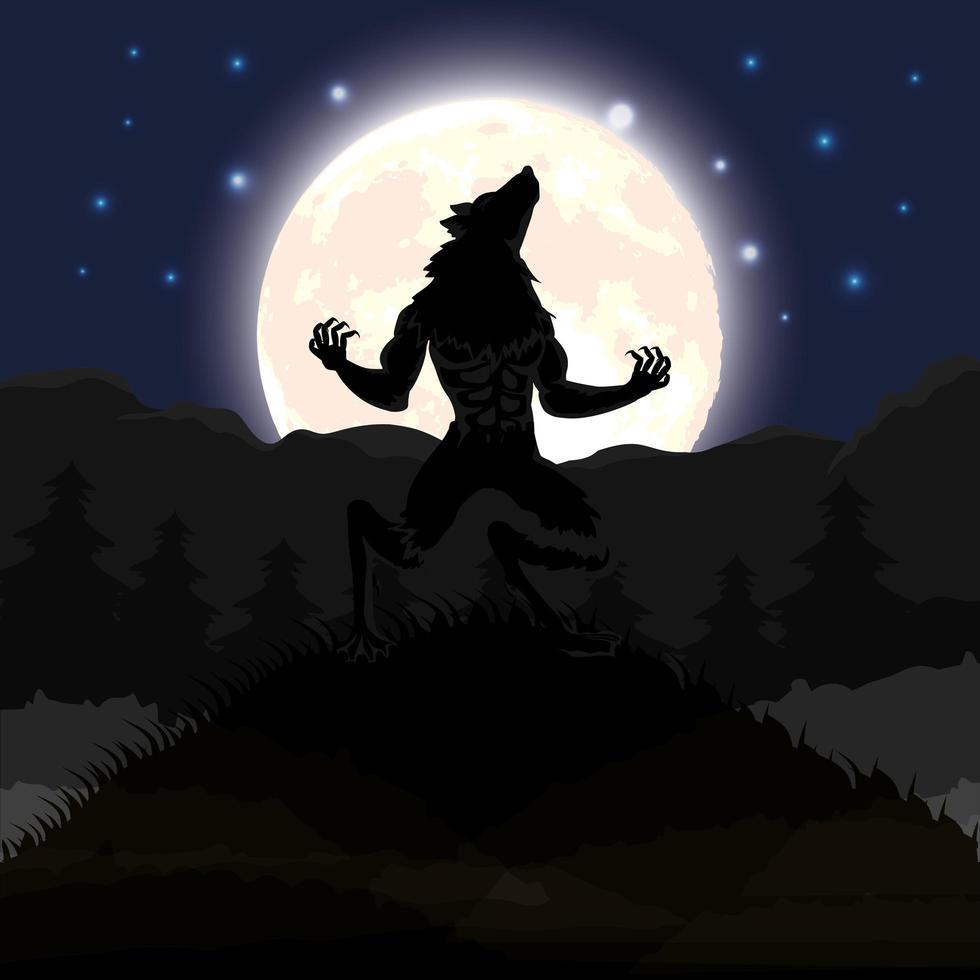 cena da noite escura de halloween com lobisomem vetor
