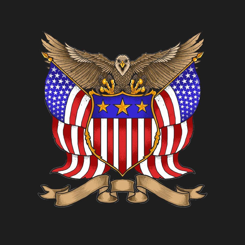 ilustração vetorial do emblema da águia americana vetor