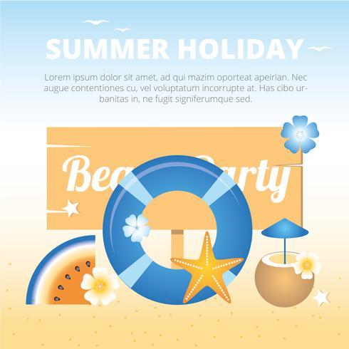 Cartão da festa de praia do vetor