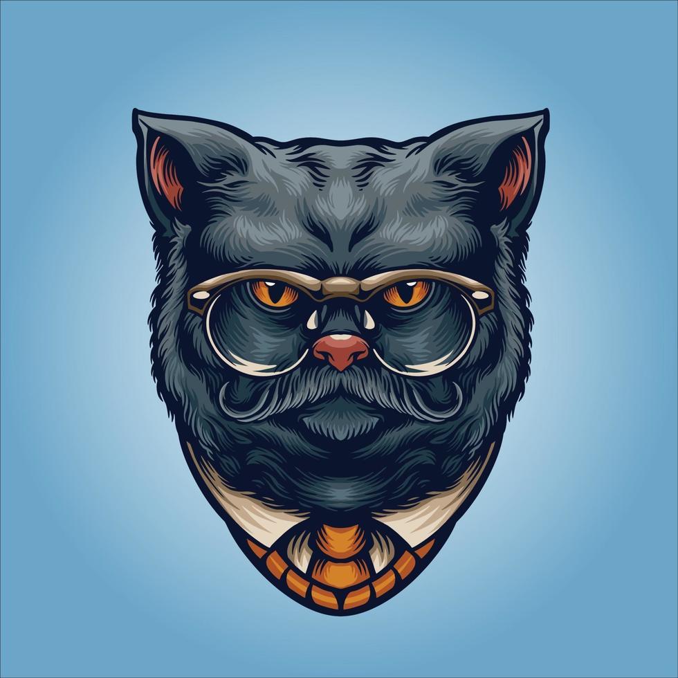 cavalheiro gato cinza com óculos vetor