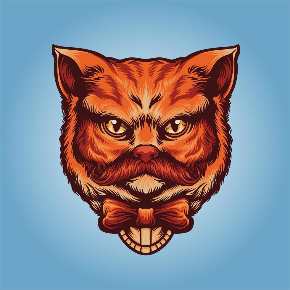 cabeça de gato cavalheiro laranja fofo vetor