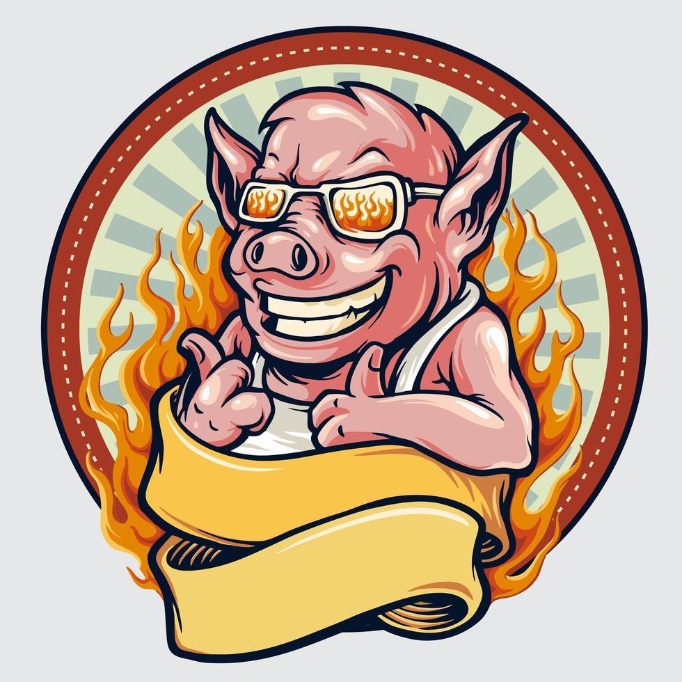 emblema do mascote do porco vintage com fita e fogo vetor