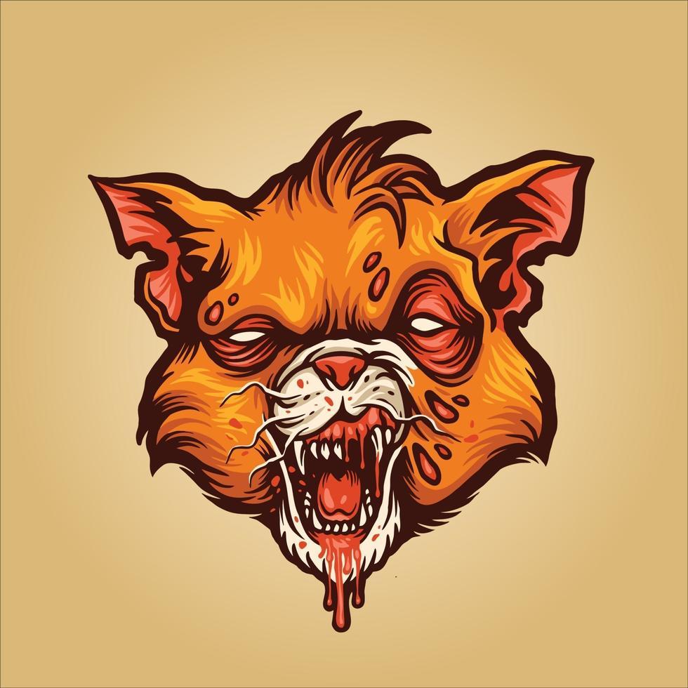ilustração do mascote do vampiro do gato zumbi vetor