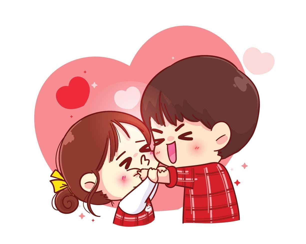 linda garota beijando menino na bochecha ilustração de personagem de desenho animado feliz dia dos namorados vetor