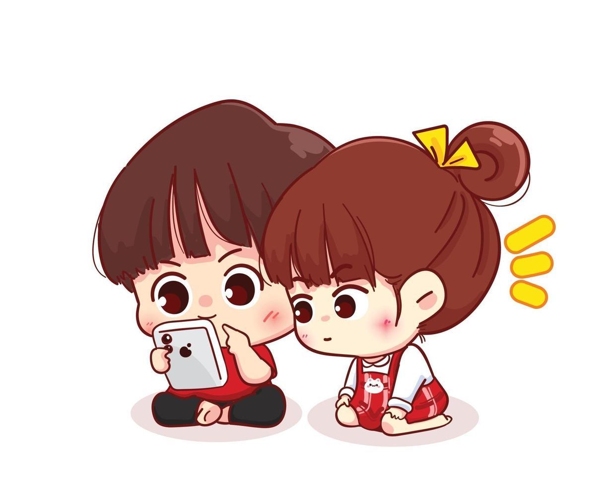 casal olhando para a ilustração de personagem de desenho animado do smartphone feliz dia dos namorados vetor