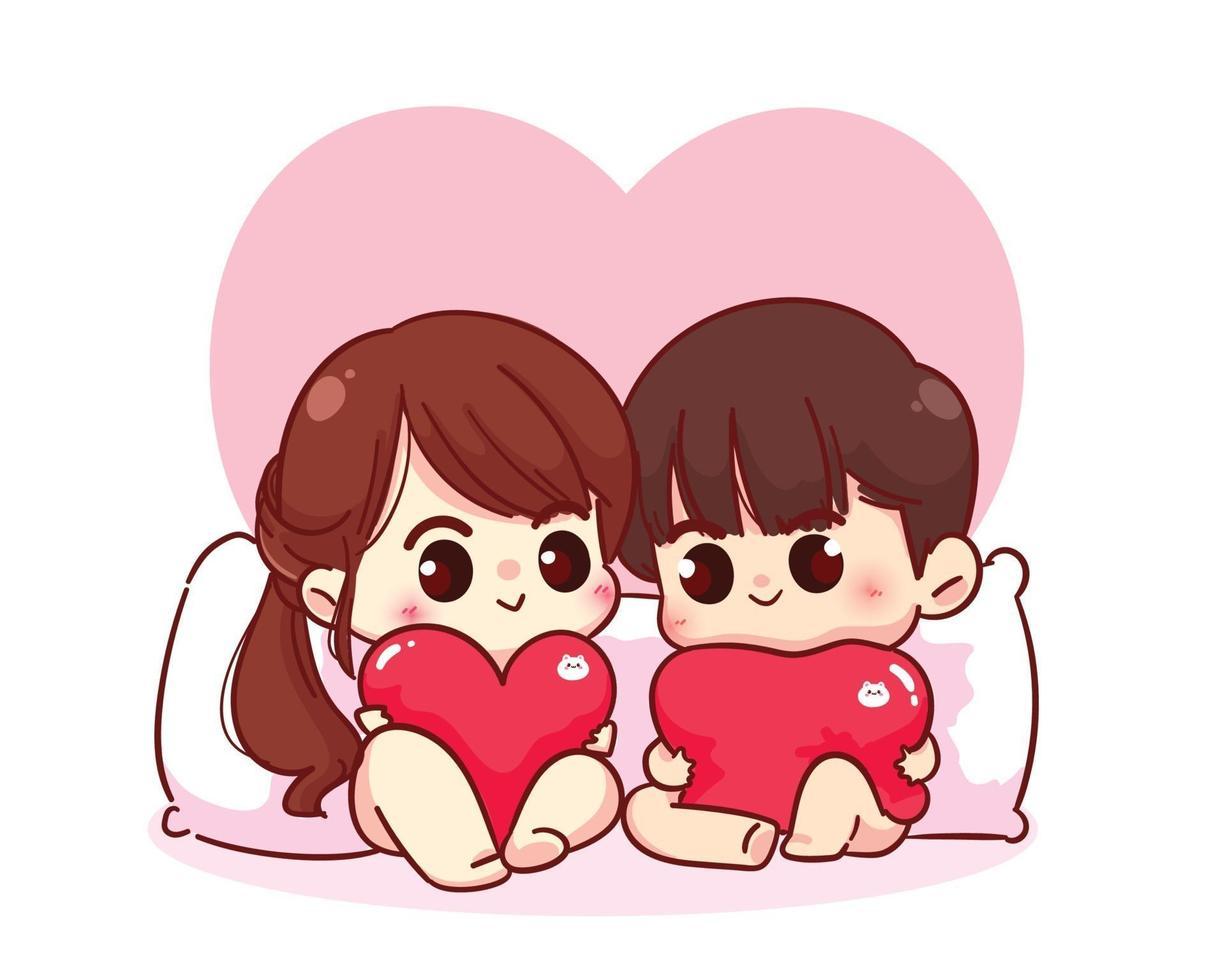 casal de namorados sentado com um travesseiro segurando corações. vetor