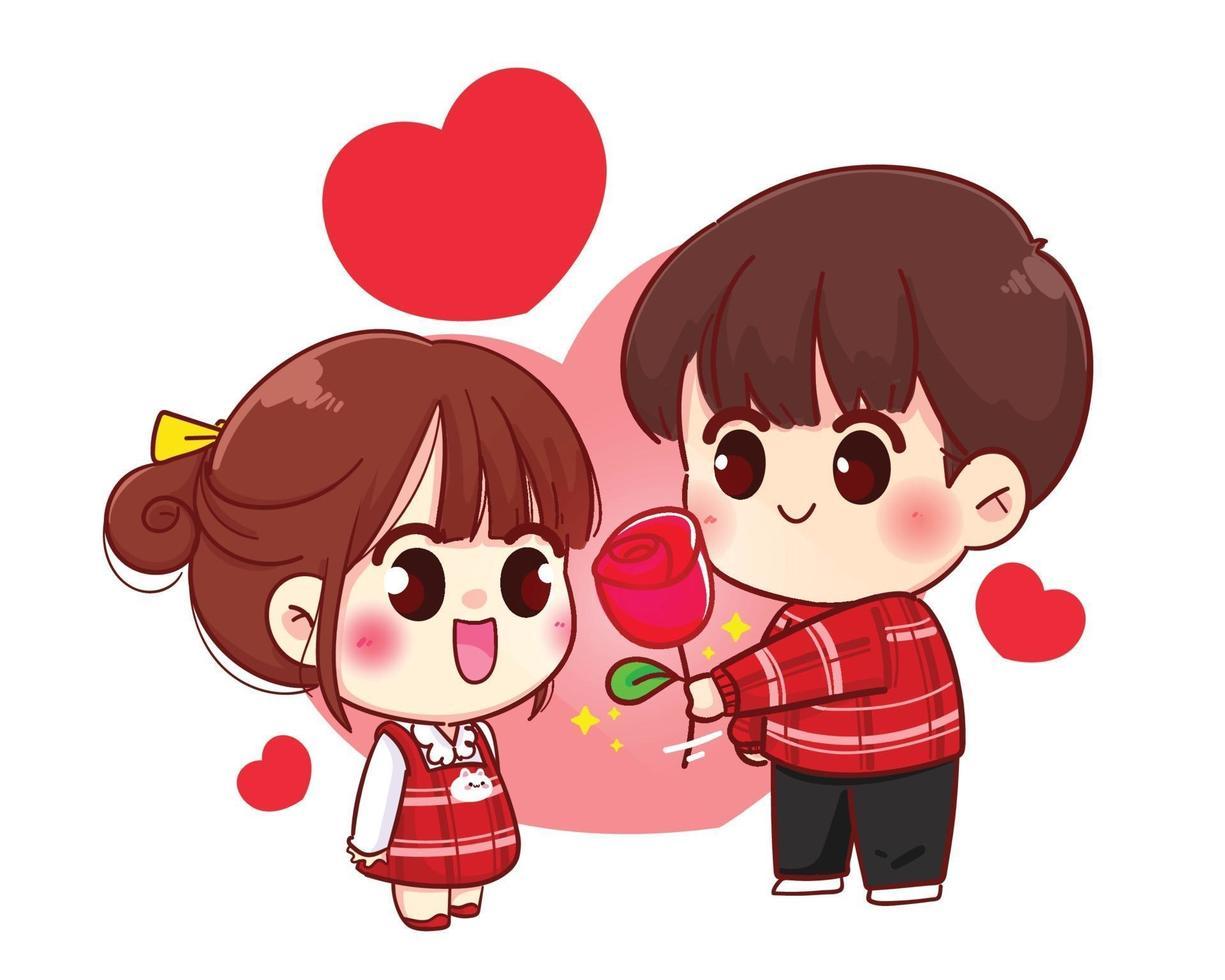 menino dá flores para menina casal bonito feliz dia dos namorados personagem de desenho animado vetor