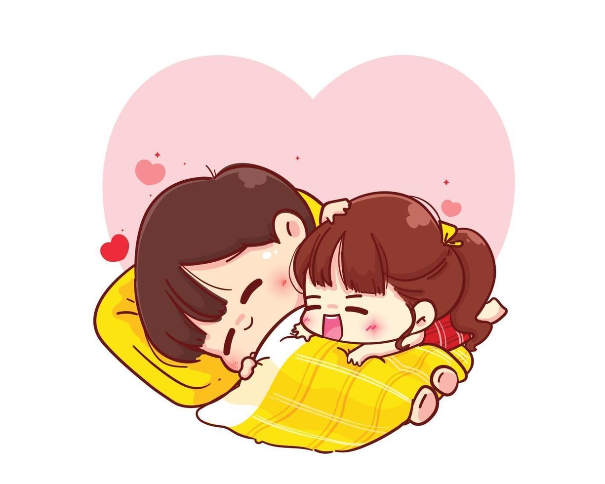 casal se abraçando no cobertor, feliz dia dos namorados, personagem de desenho animado vetor