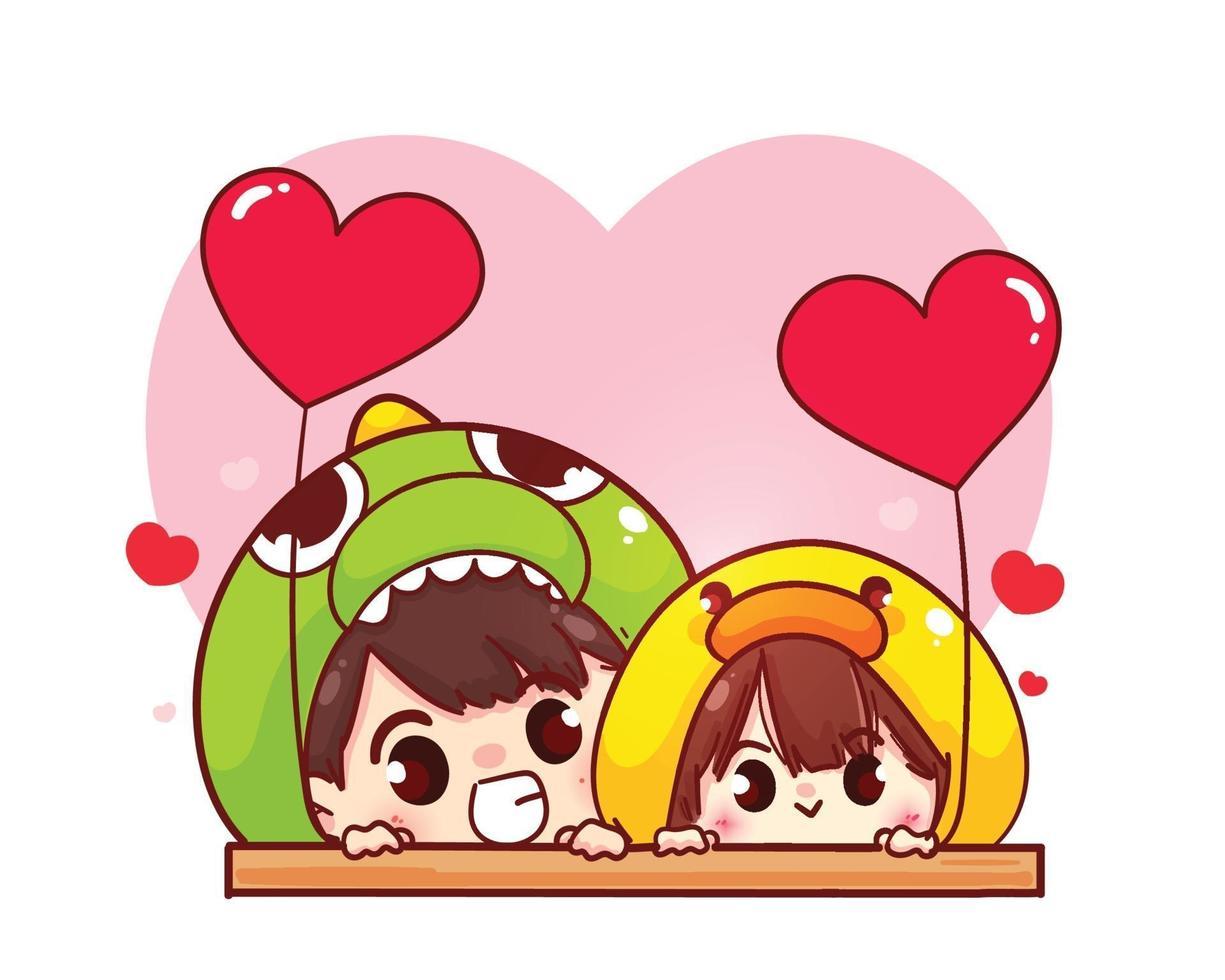casal de amantes segurando balões em forma de coração feliz dia dos namorados personagem de desenho animado vetor