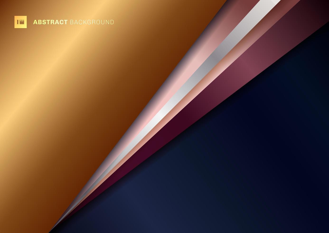 abstrato fundo triângulo geométrico azul com ouro, prata e rosa diagonal sobreposição com sombra. vetor