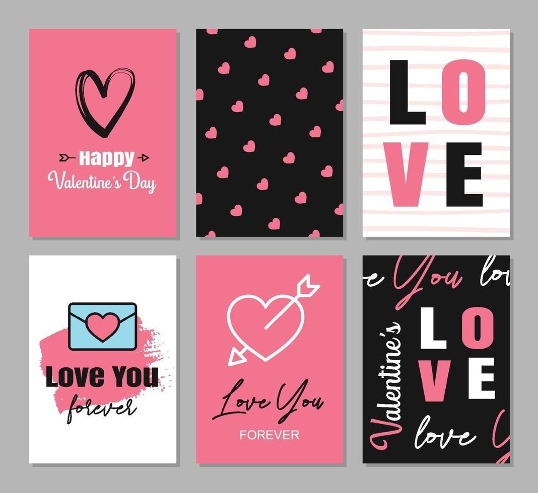 cartões de dia dos namorados com corações e decoração de símbolo para convite, panfleto, cartazes, tag, banner. vetor