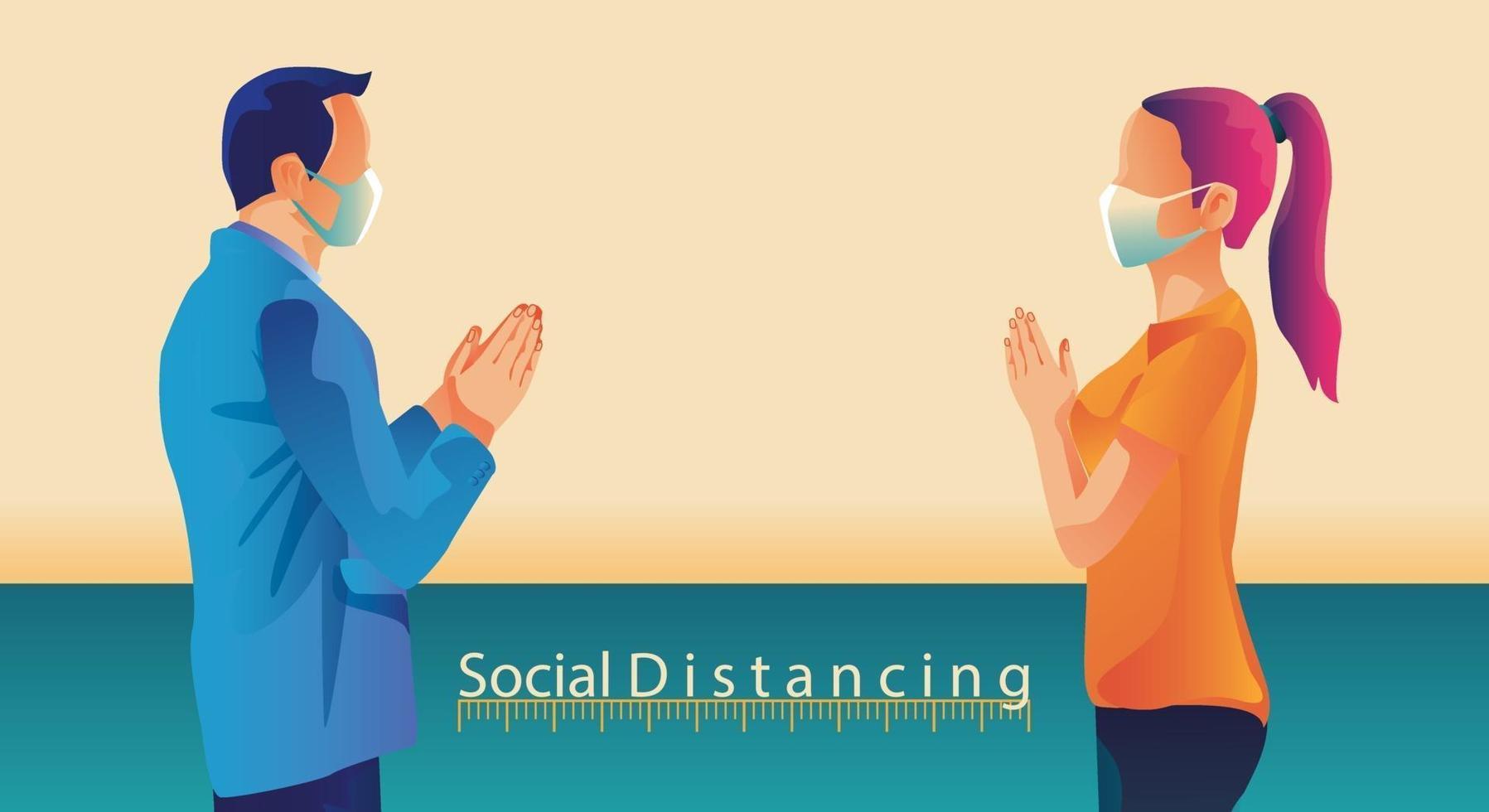 distanciamento social, as pessoas mantêm distância e evitam o contato físico, aperto de mão ou toque de mão para se proteger do conceito de disseminação do coronavírus covid-19, as pessoas estão usando a saudação da Tailândia de sawasdee vetor