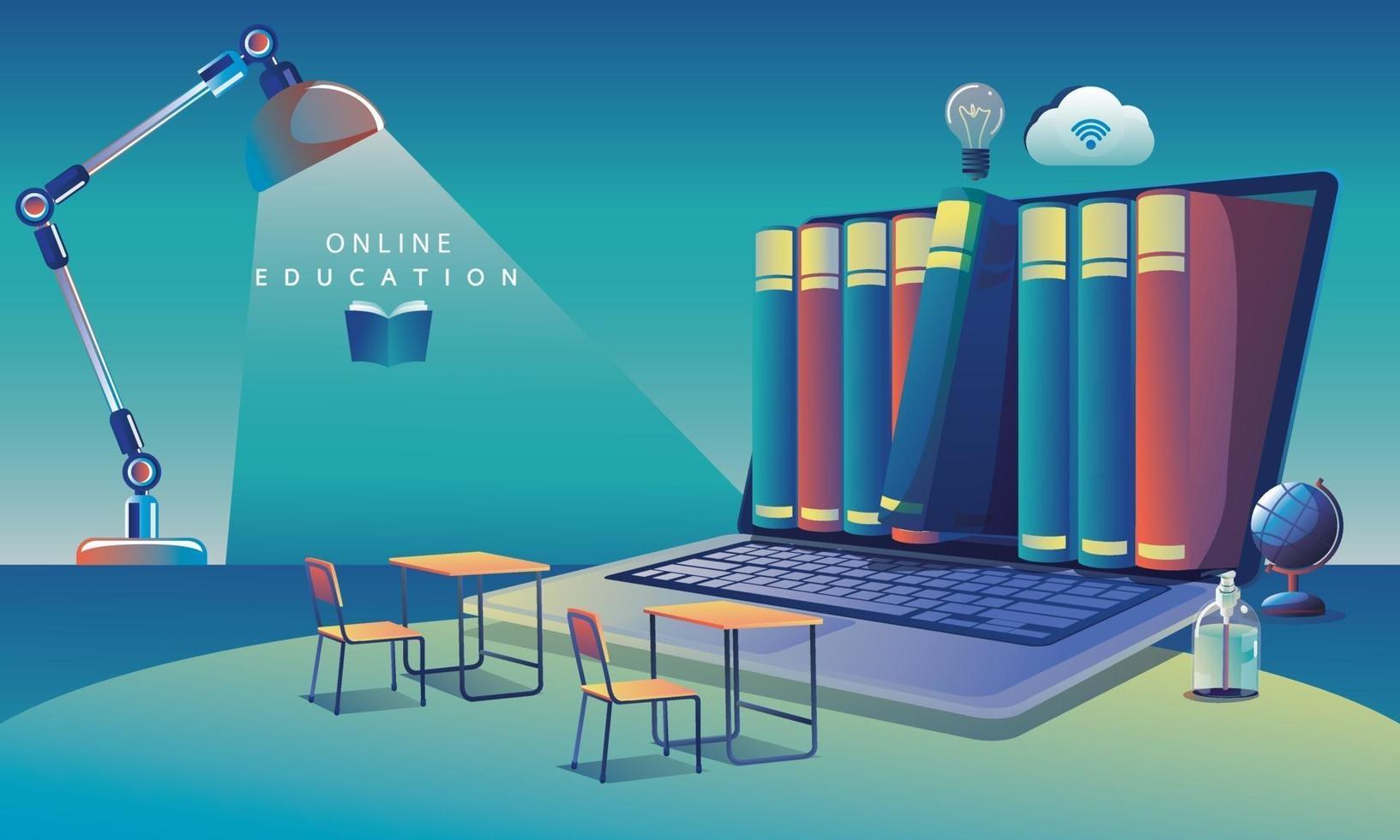 aprendizagem de aplicativo de educação online em todo o mundo no computador, plano de fundo do site móvel. conceito de distância social. o curso de treinamento em sala de aula, ilustração vetorial de biblioteca plana vetor