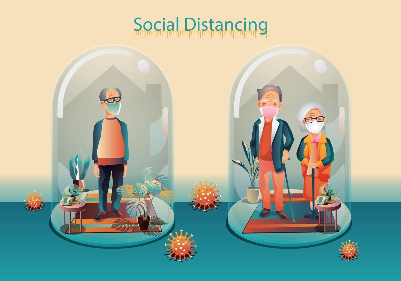 distanciamento social, idosos mantêm distância e evitam contato físico, usando máscara médica protetora cirúrgica, aperto de mão ou toque de mão para se proteger do conceito de disseminação do coronavírus covid-19 vetor