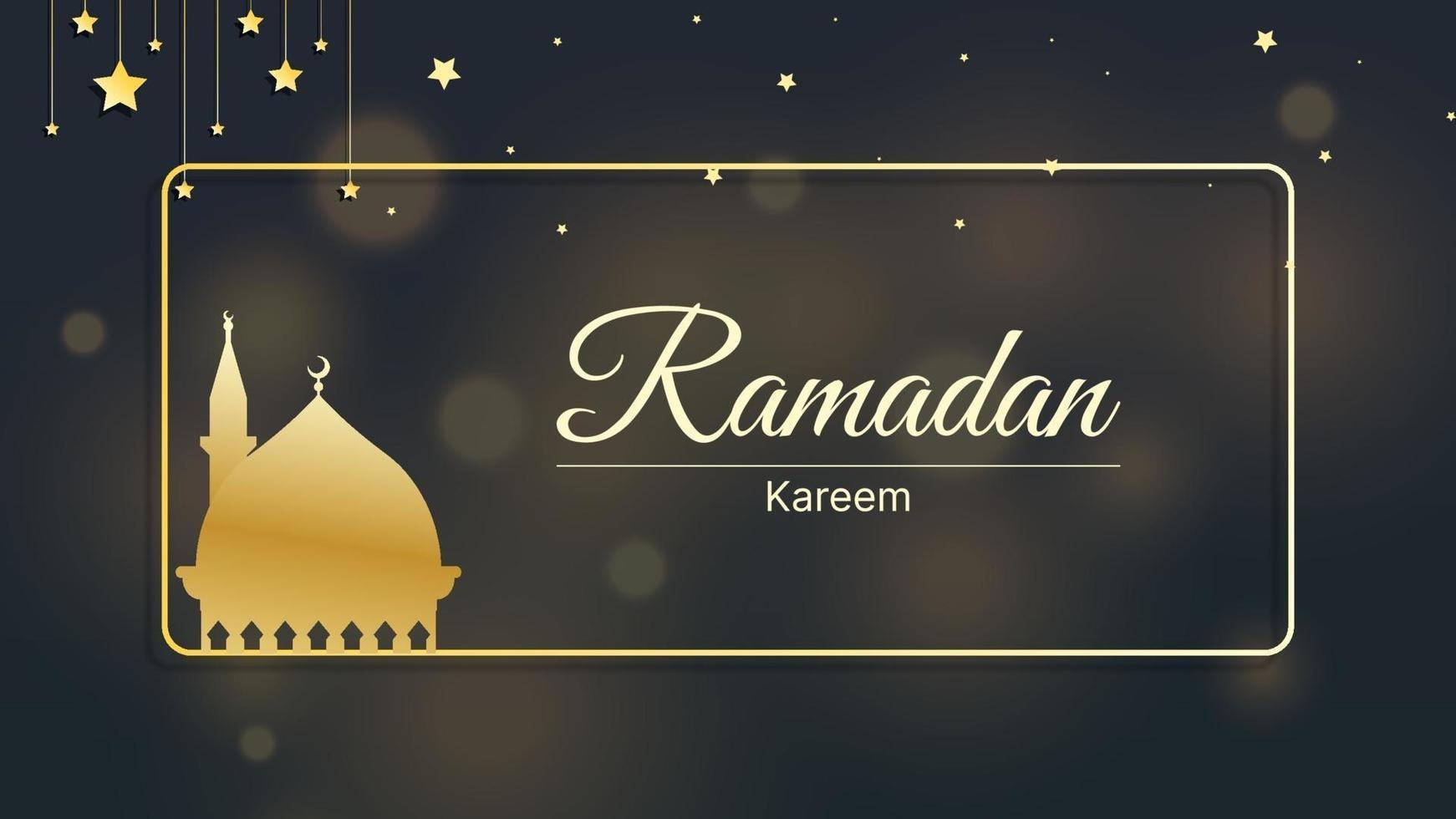 fundo islâmico ramadan kareem, eid mubarak com ilustração vetorial de luz bokeh vetor