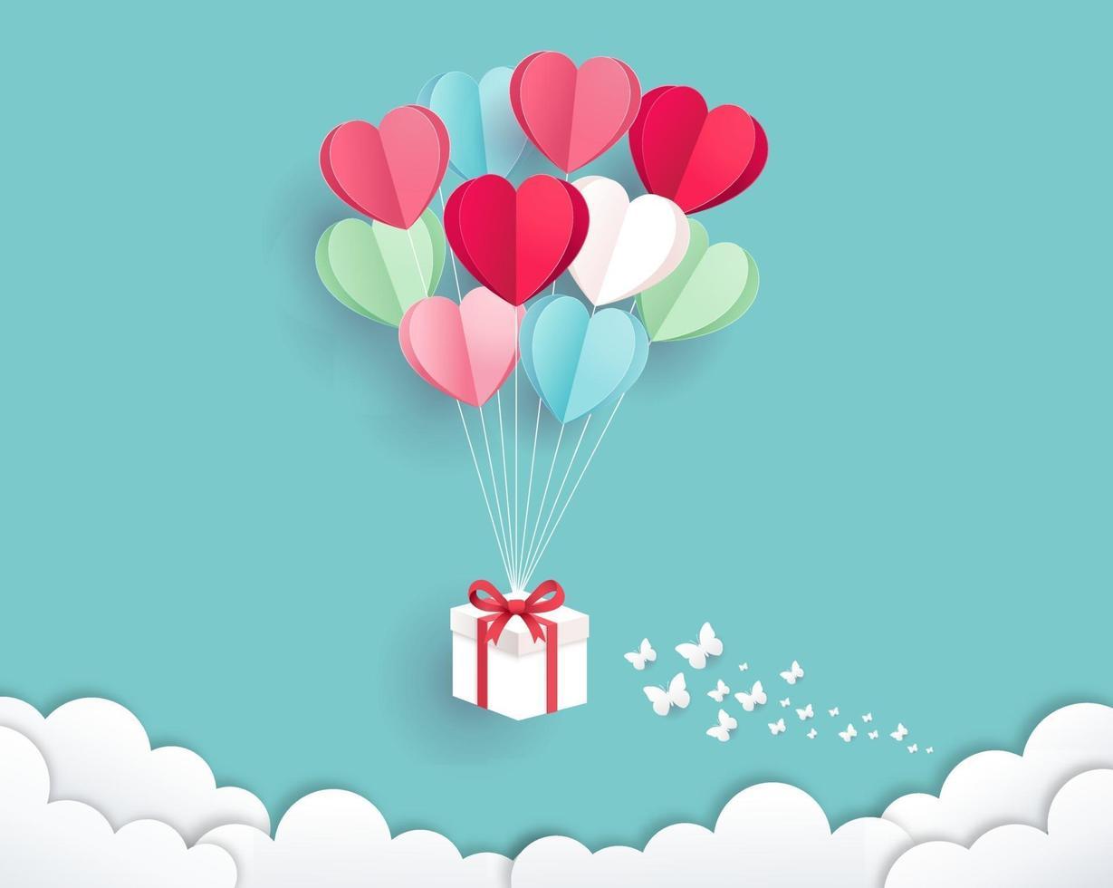 caixa de presente com balão no estilo de corte de papel do céu. fundo do cartão de dia dos namorados. vetor