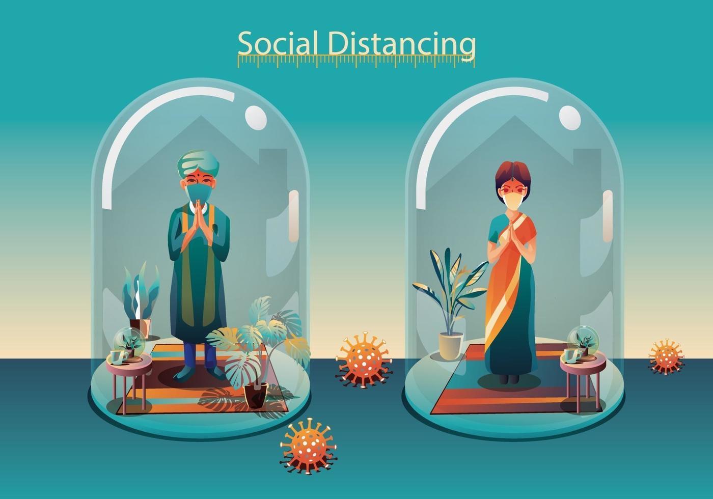 distanciamento social, as pessoas mantêm distância e evitam contato físico, aperto de mão ou toque de mão para se proteger do conceito de propagação do coronavírus covid-19, as pessoas estão usando a saudação da Índia de namaste vetor