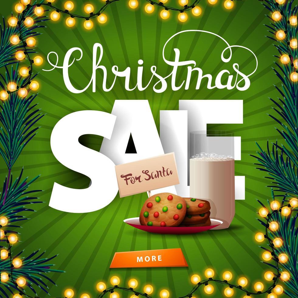 Venda de natal, banner de desconto quadrado verde com grandes letras volumétricas, botão e biscoitos com um copo de leite para o papai noel vetor