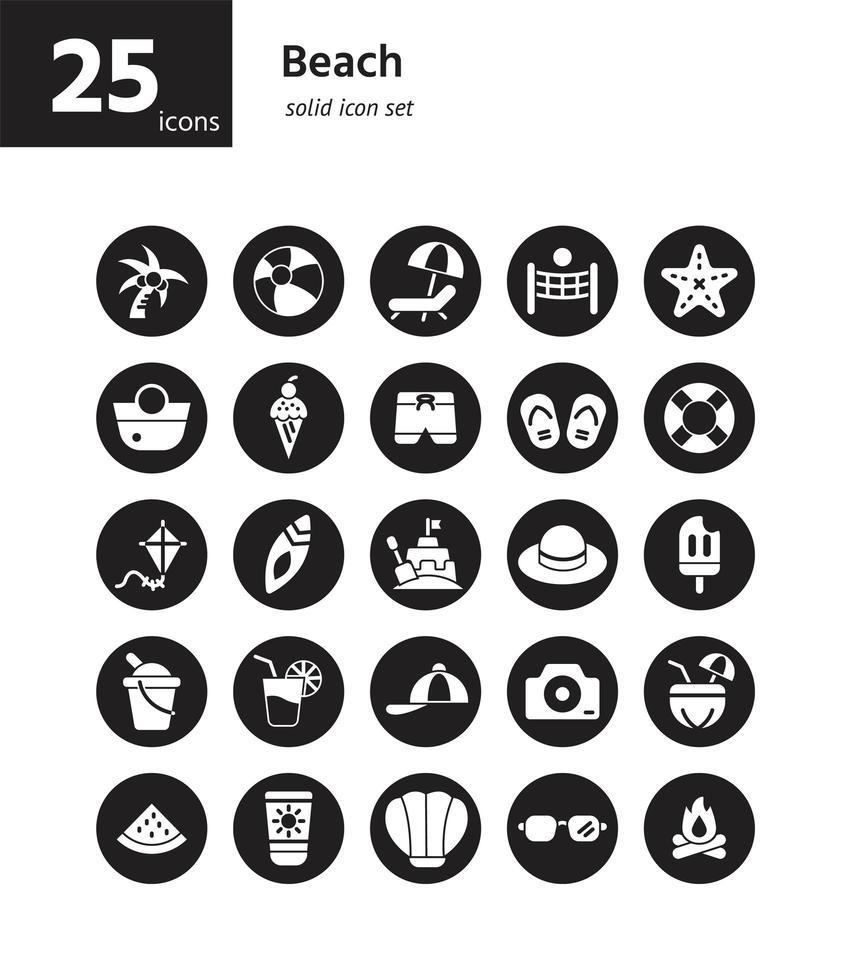 conjunto de ícones sólidos de praia. vetor e ilustração.