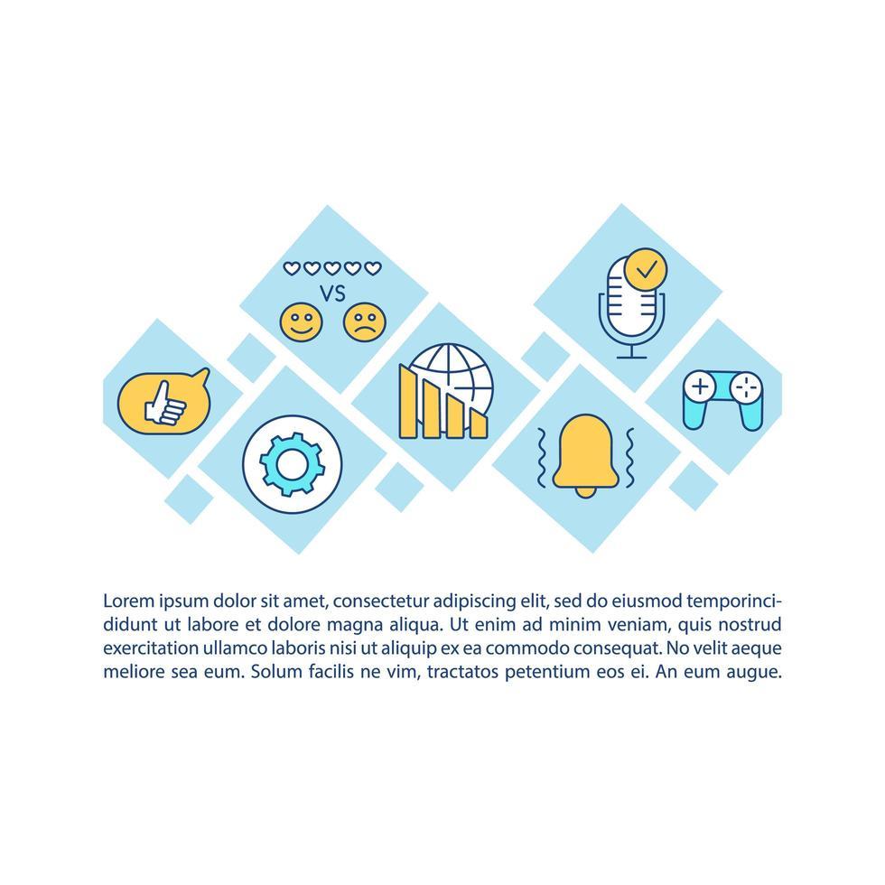 ícone de conceito de dependência de mídia social com texto vetor