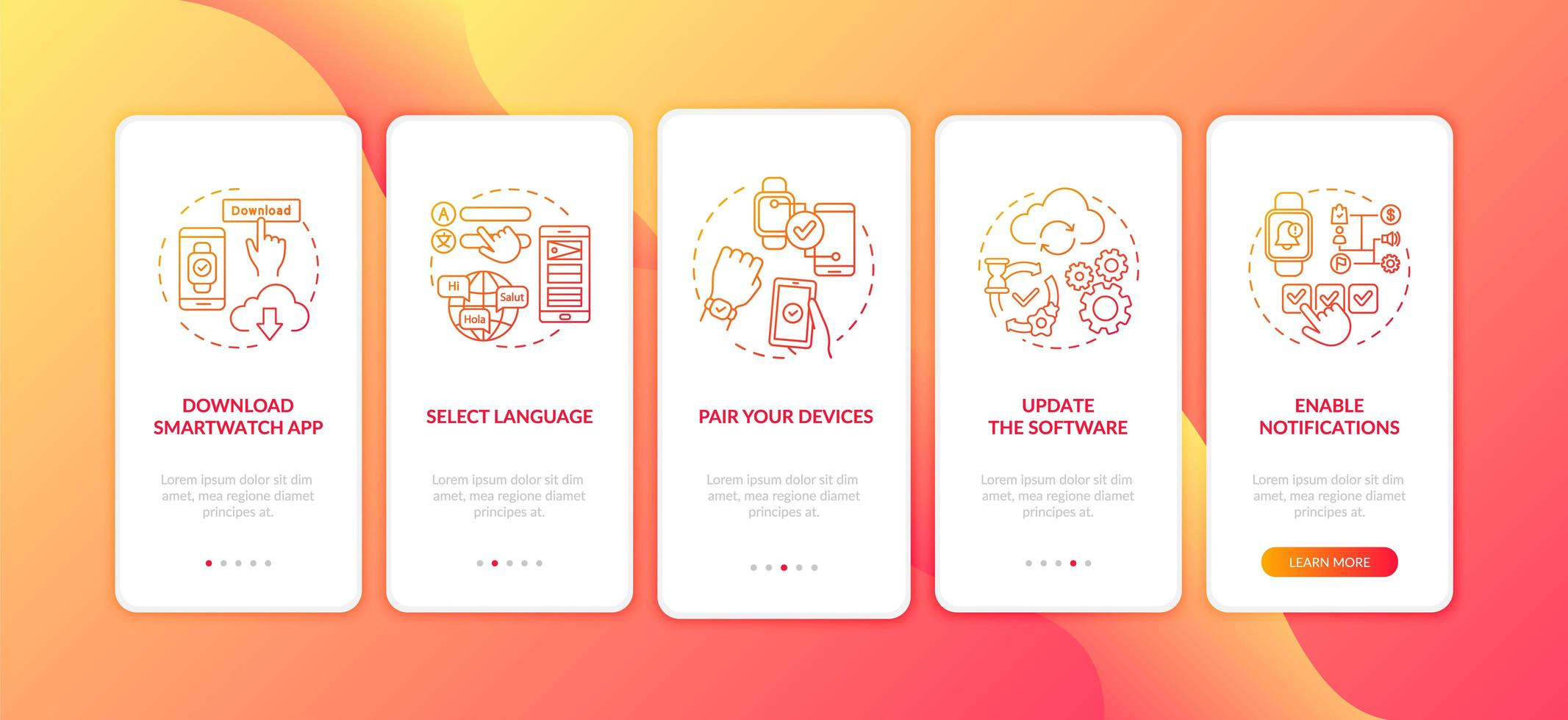 conselhos de configuração do smartwatch na tela da página do aplicativo móvel com conceitos vetor