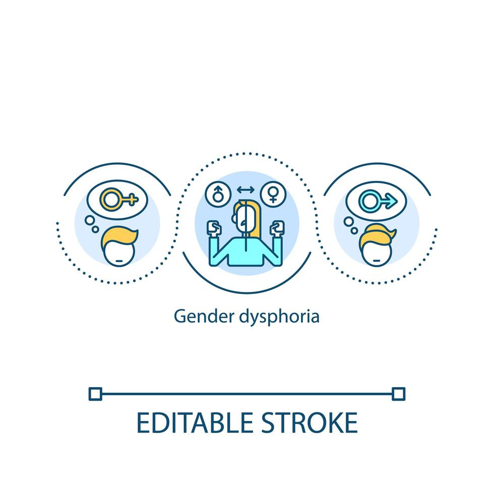 ícone do conceito de disforia de gênero vetor