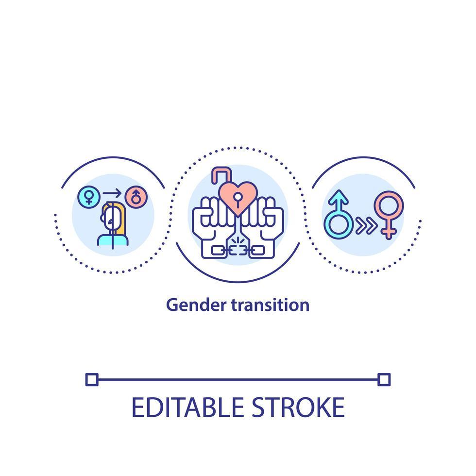 ícone do conceito de transição de gênero vetor