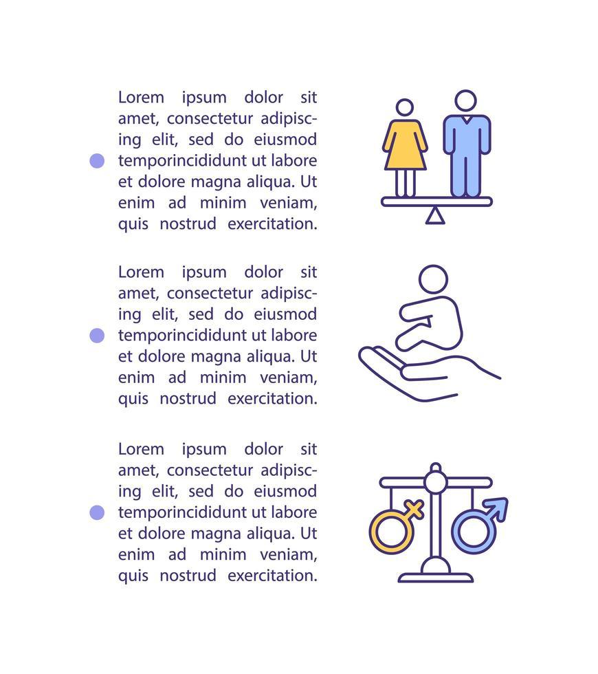 ícone do conceito de igualdade de gênero com texto vetor