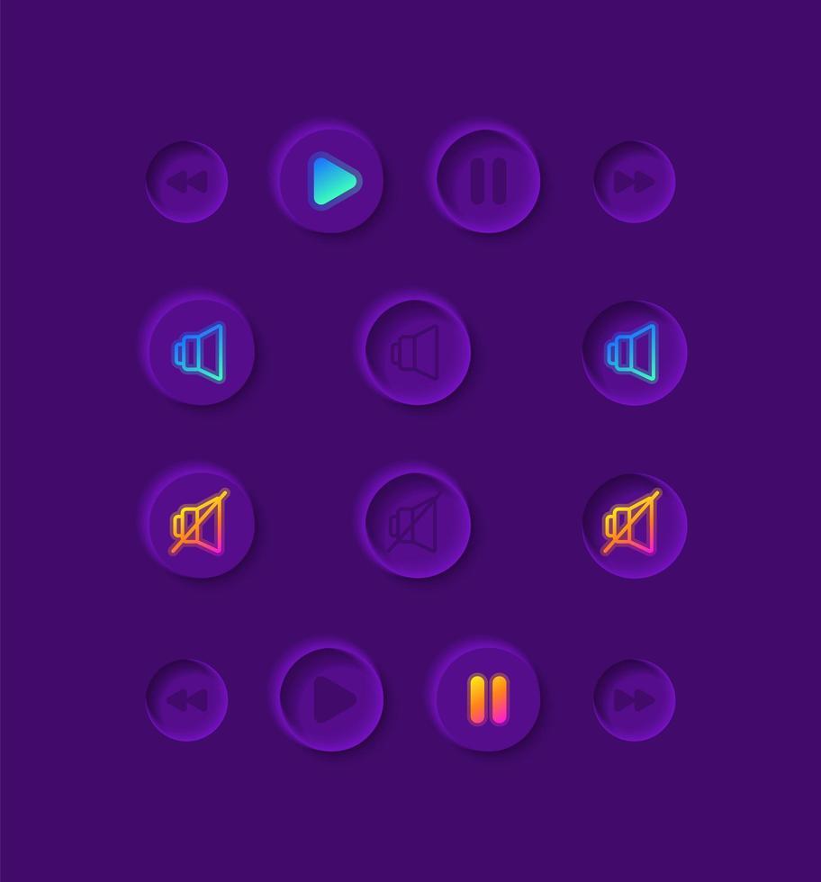 kit de elementos de interface do usuário do player de música vetor
