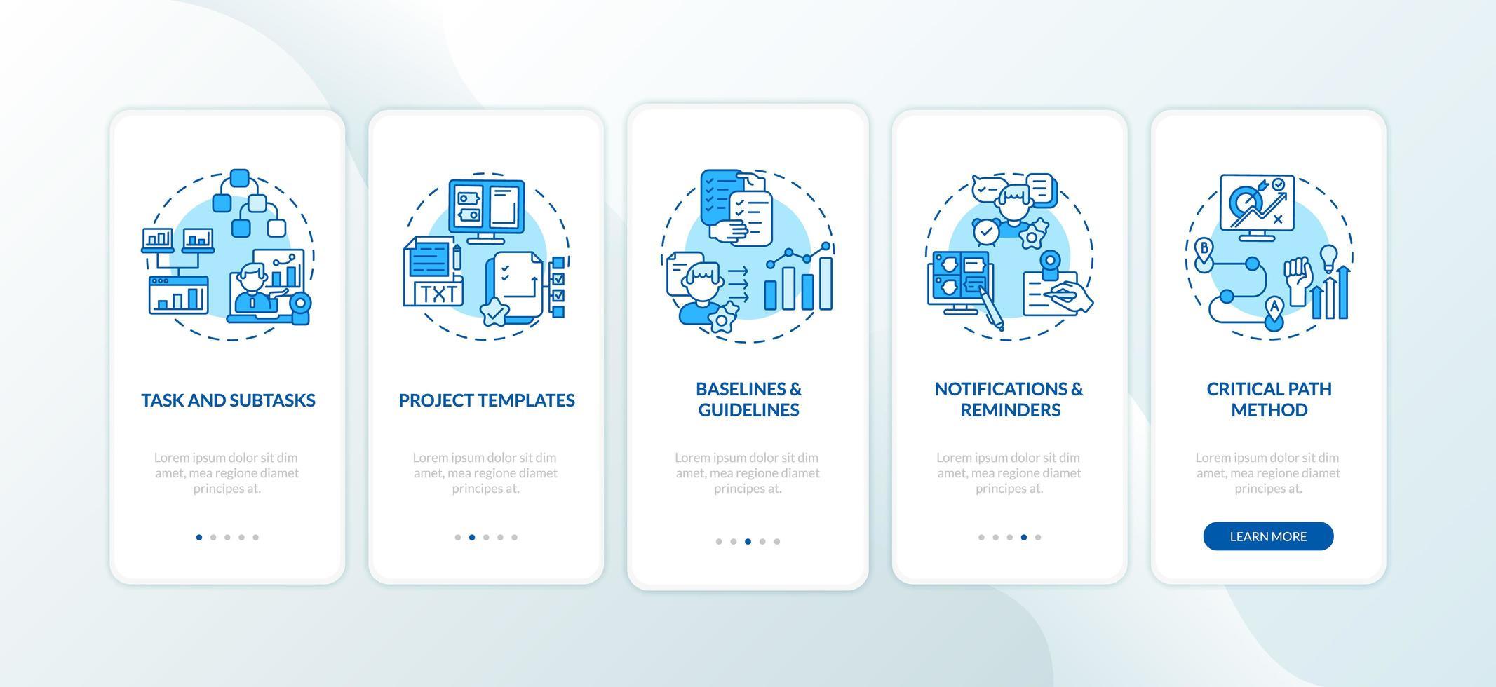 tela de página de aplicativo móvel de integração de estrutura de software de trabalho remoto com conceitos vetor