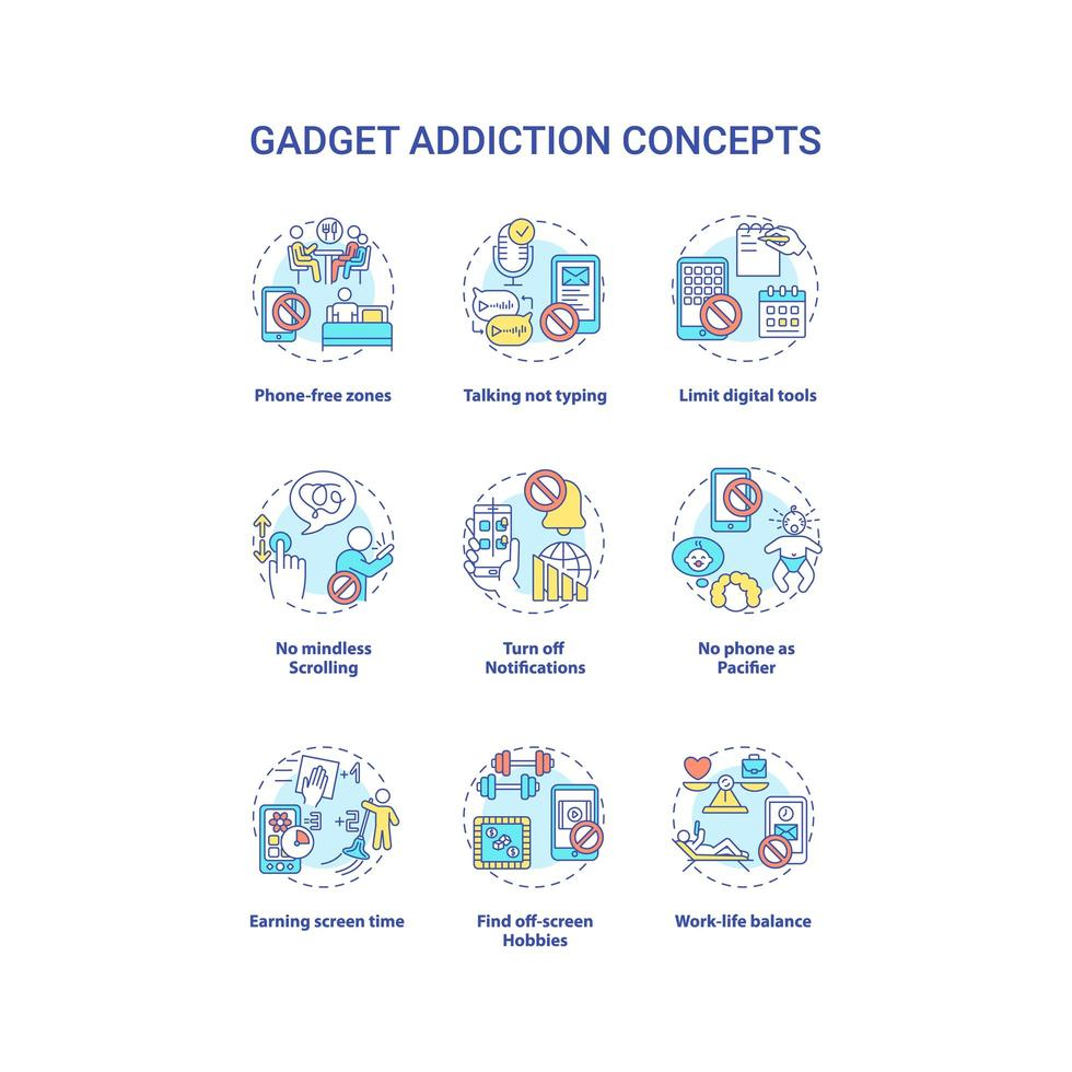 conjunto de ícones de conceito de adição de gadget vetor