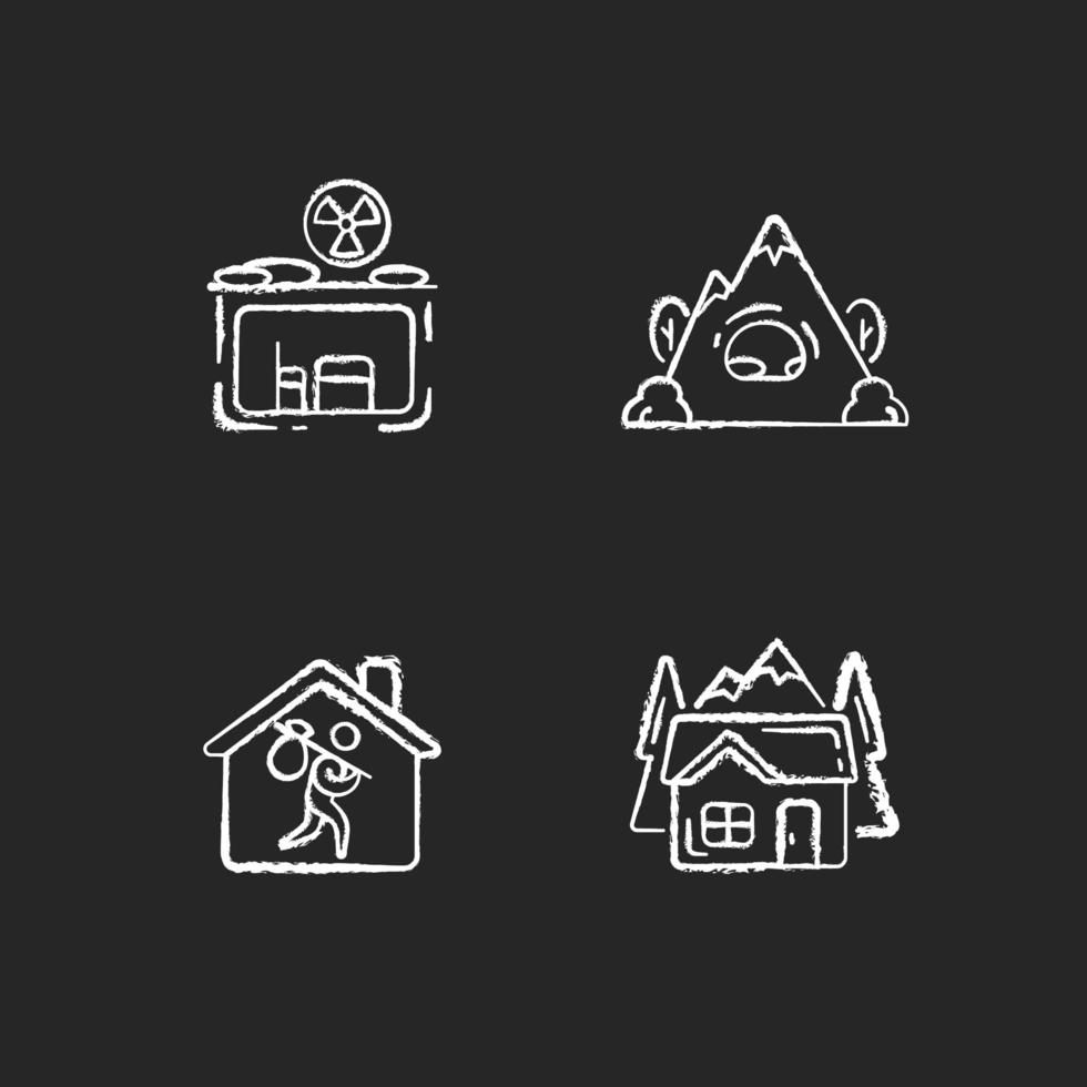 Ícones brancos de giz de habitação transitória em fundo preto vetor