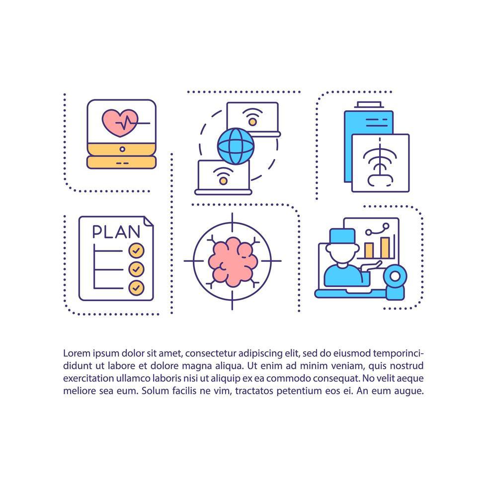ícone do conceito de saúde virtual com texto vetor