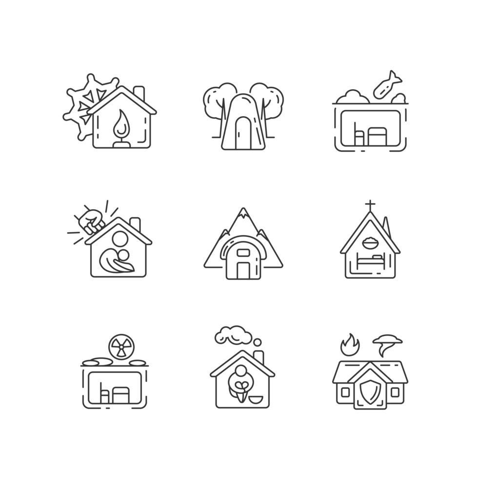 conjunto de ícones lineares de abrigos humanos vetor