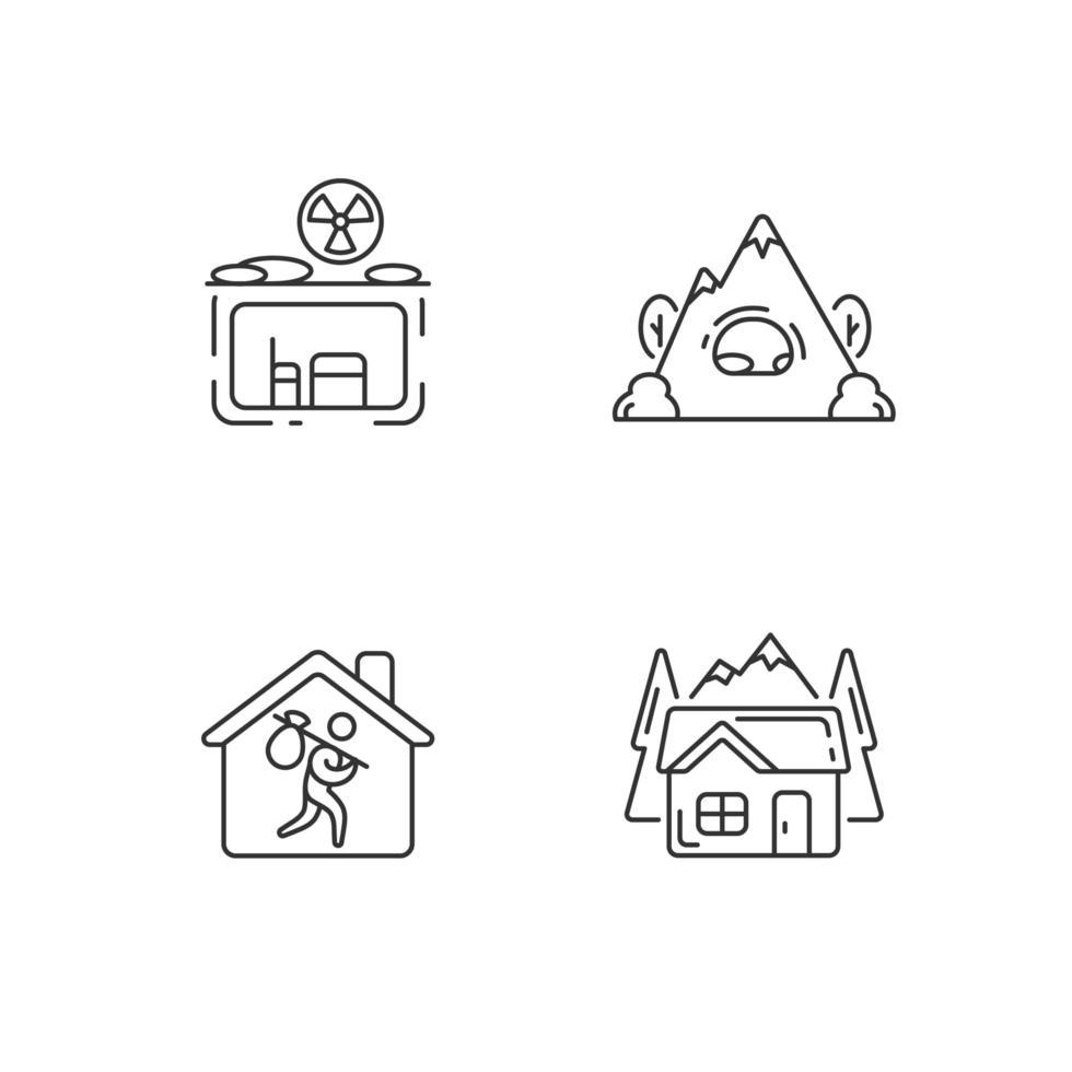 conjunto de ícones lineares de habitação transitória vetor