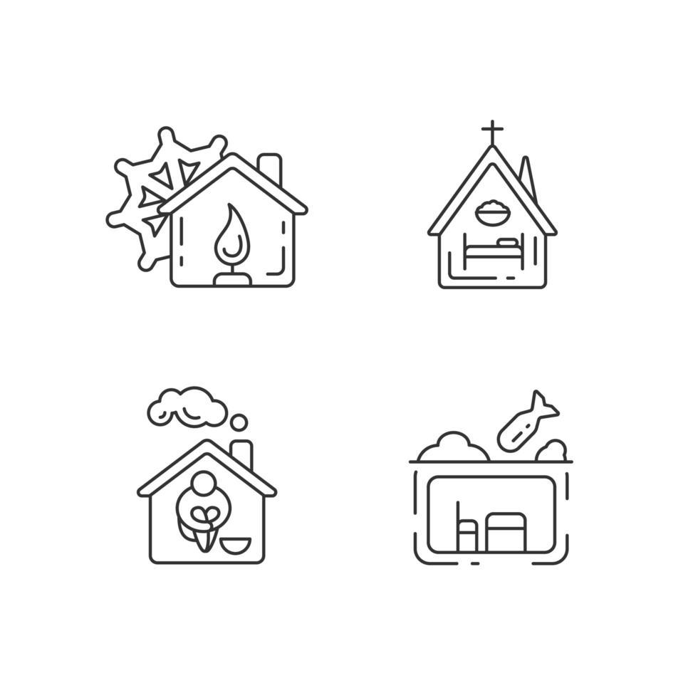 conjunto de ícones lineares de habitação de suporte temporário vetor