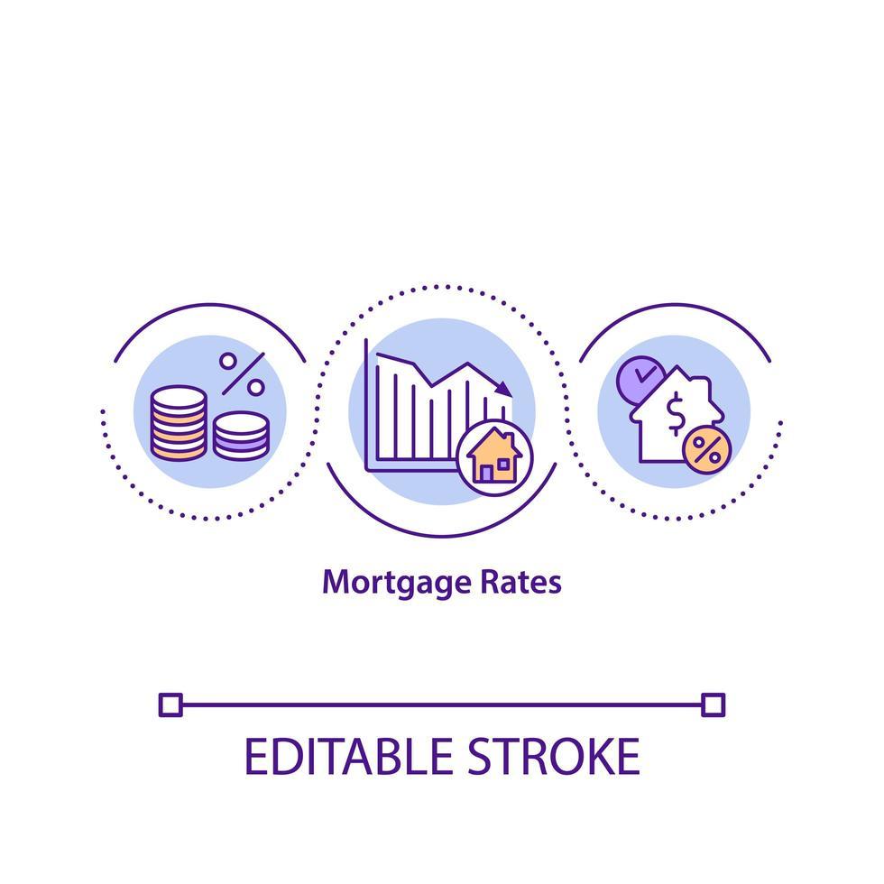 ícone do conceito de taxas de hipoteca vetor