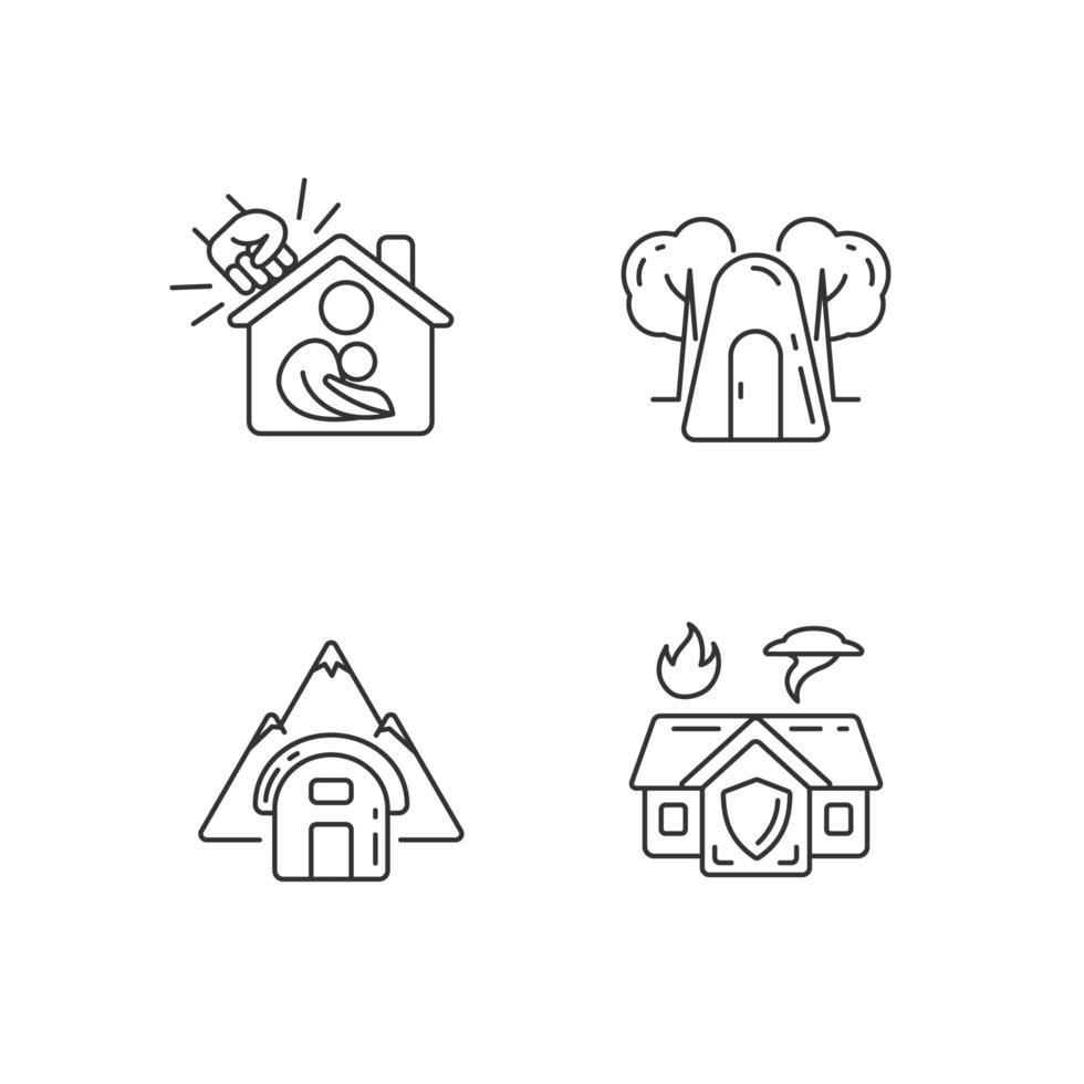 conjunto de ícones lineares de residência segura temporária vetor
