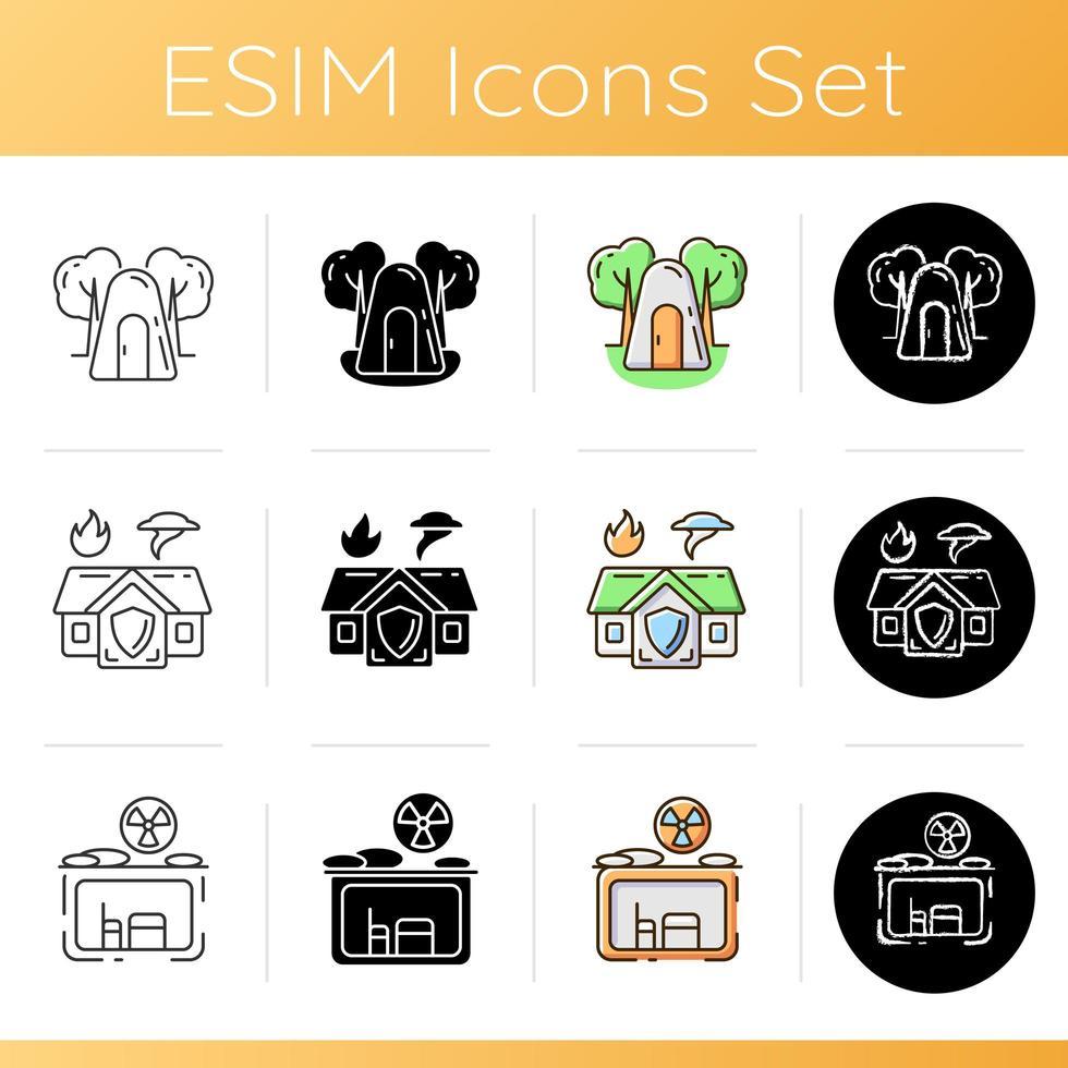 conjunto de ícones de residência segura temporária vetor