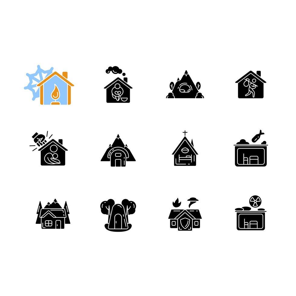 tipos de abrigos ícones de glifo preto definidos no espaço em branco vetor