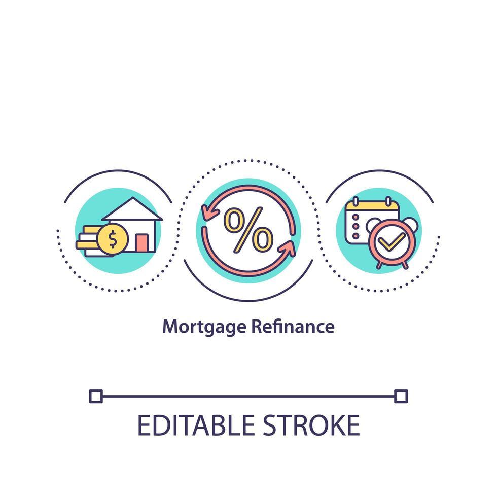 ícone do conceito de refinanciamento de hipotecas vetor