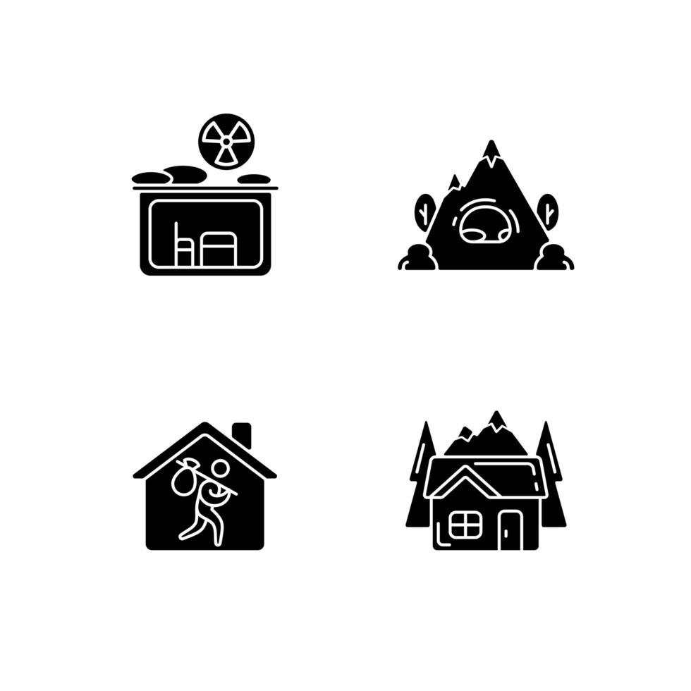 ícones de glifo preto de habitação transitória definidos no espaço em branco vetor
