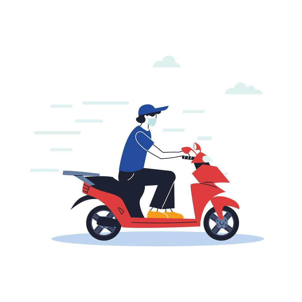 mensageiro com máscara fazendo uma entrega em uma bicicleta vetor
