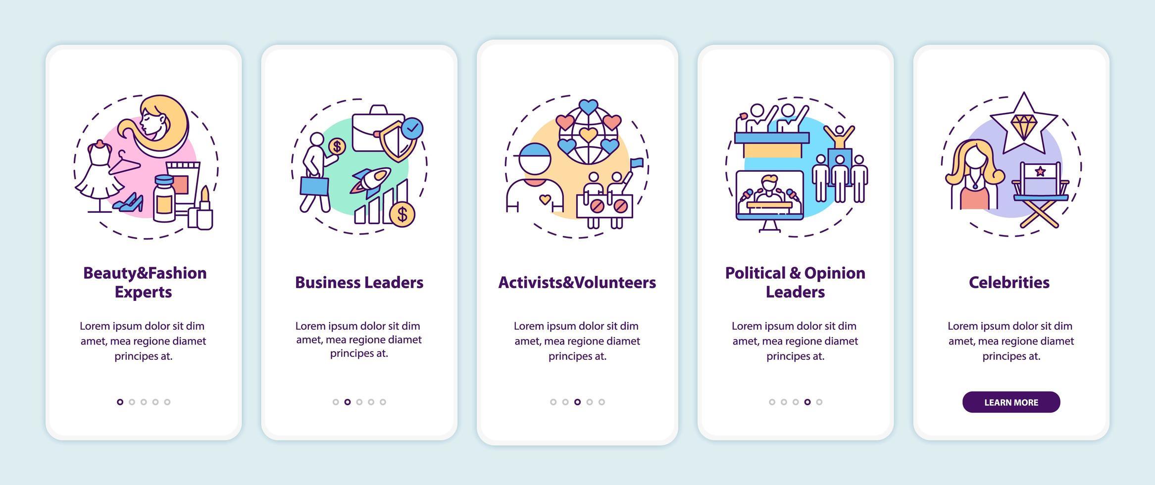 tipos de influenciadores na tela da página do aplicativo móvel com conceitos vetor