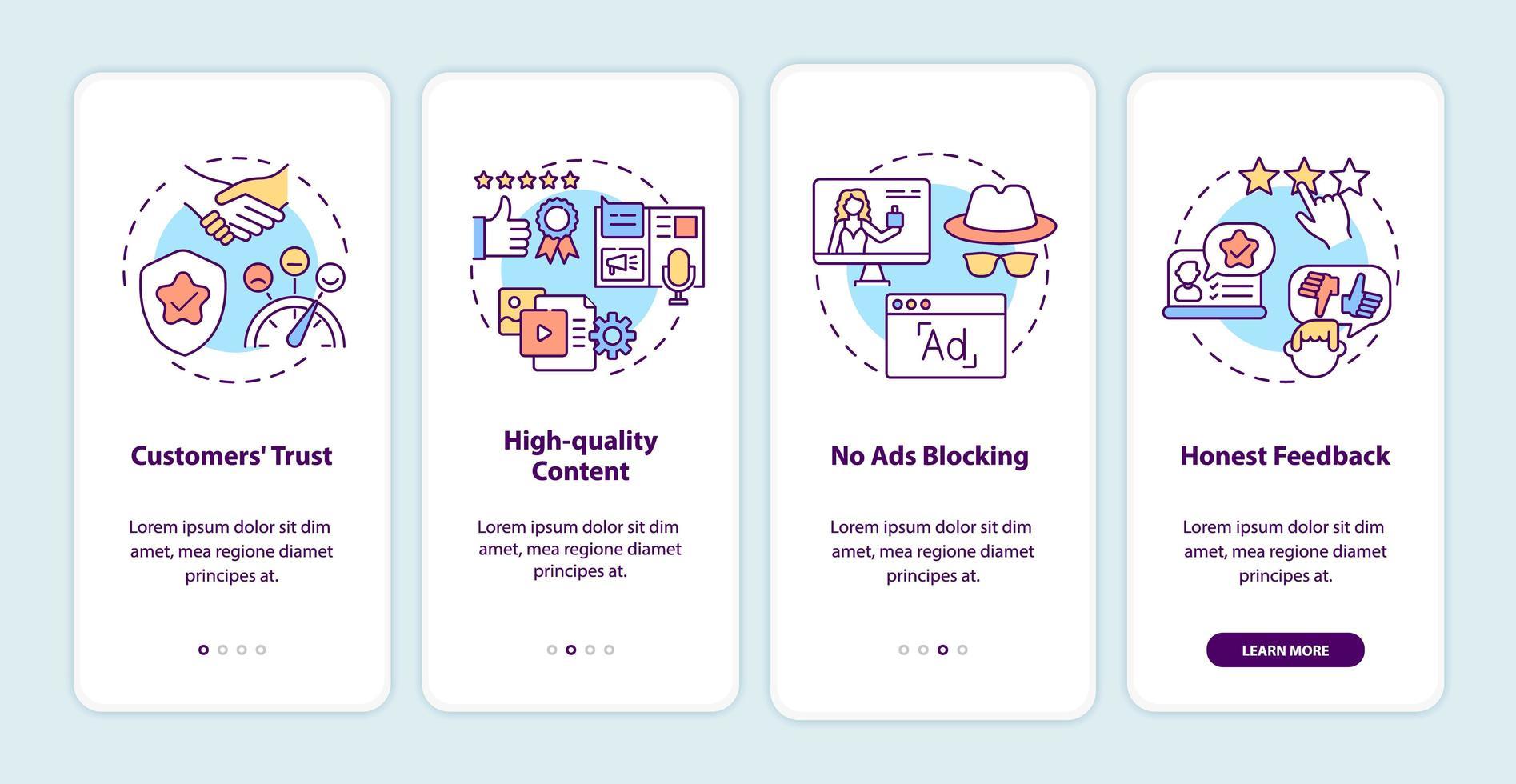 benefícios de marketing do influenciador integrando a tela da página do aplicativo móvel com conceitos vetor