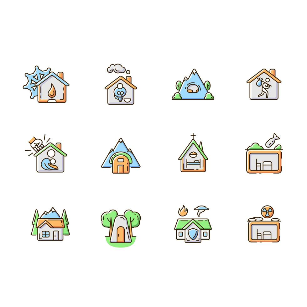 shelters types rgb color icons set vetor