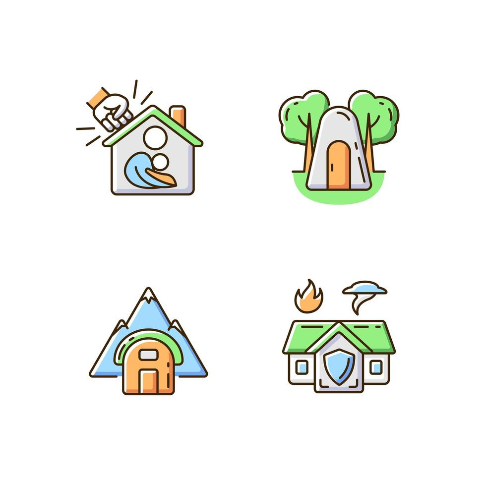 conjunto de ícones de cores rgb de residência segura temporária vetor